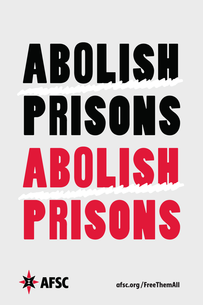 Abolish Prisons white poster
