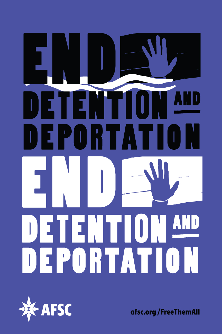 End detention and deportation purple poster
