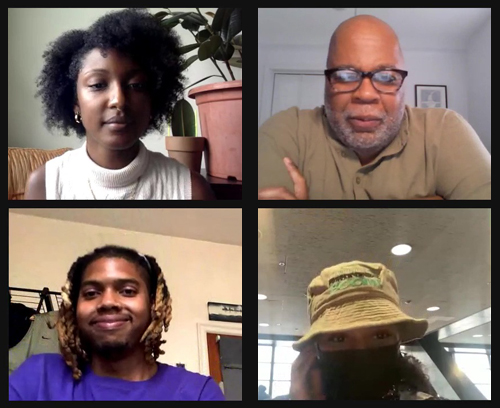 Four people presenting on a livestream