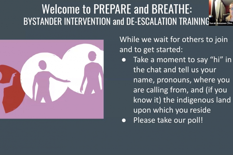 Bystander Intervention and de-escalation training webinar
