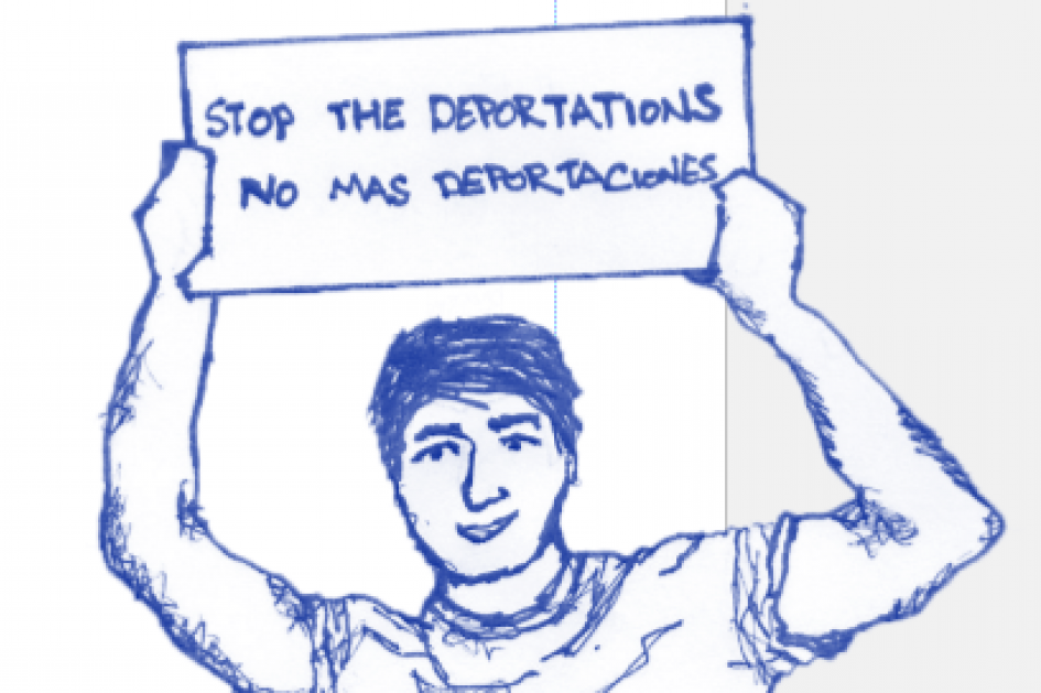 stop deportations sign holder
