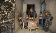 Family in Gaza receiving essential supplies