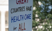 """""""Great countries have healthcare for all"""" protest sign at healthcare rally June 2017. Photo courtesy of Steve Chase."""