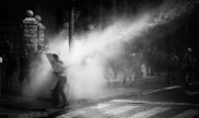 Sahar, the author, getting shot by a water cannon at a protest on July 14th