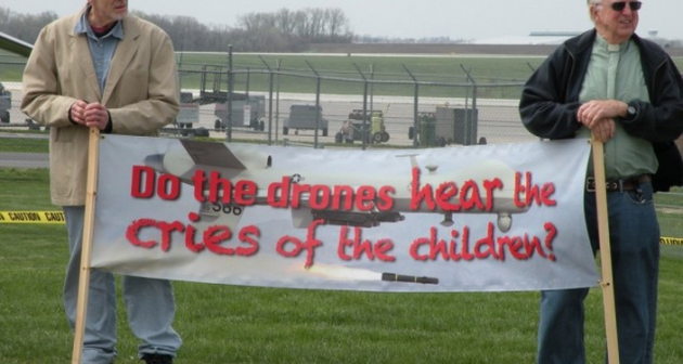 Drone protest banner