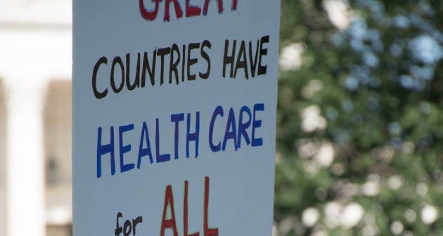 """Great countries have healthcare for all"" protest sign at healthcare rally June 2017. Photo courtesy of Steve Chase."