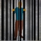 drawing of man trapped behind bar code as though it was prison bars
