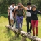 """Teambuilding activity at """"Sharing Experiences Inspired by Peace,"""" a summer camp"""