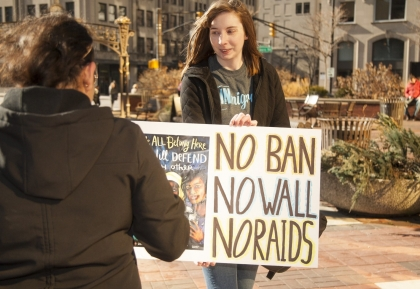 No Ban protest sign