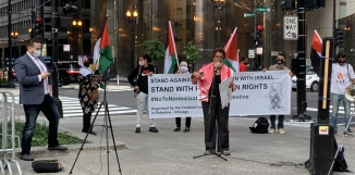 The Coalition for Justice in Palestine press conference in Chicago.
