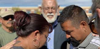 Christina Zaldivar and her husband, Jorge, at an ICE check-in