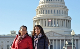 Two women standing in front of Capitol