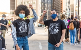 Two demonstrators at Chicago protest