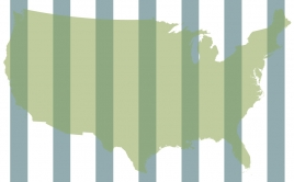 Map of US with bars over it