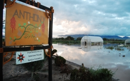 "Water rising next to ""Anthony Farm"" sign"