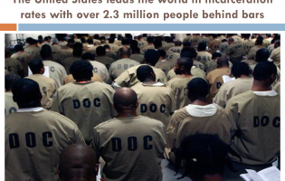 "Group of prisoners from the back, shirts read ""D.O.C."""