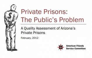 """Private Prisons: the Public's Problem"" report cover"