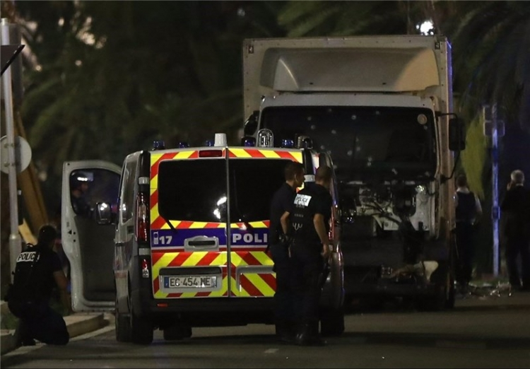 Ambulance and truck from attack in Nice