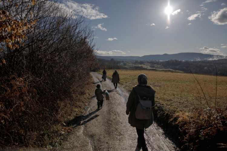 An Afghan family attempts to cross into the EU. Photo: Damir Sagolj/Getty Images