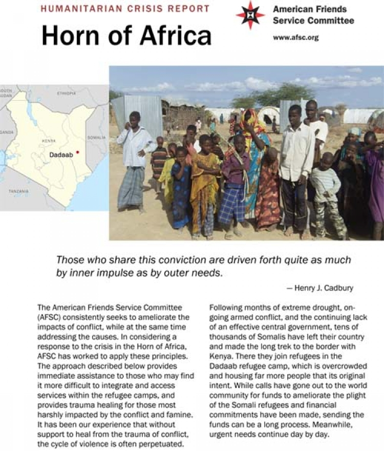 Cover of the Horn of Africa Crisis Report.