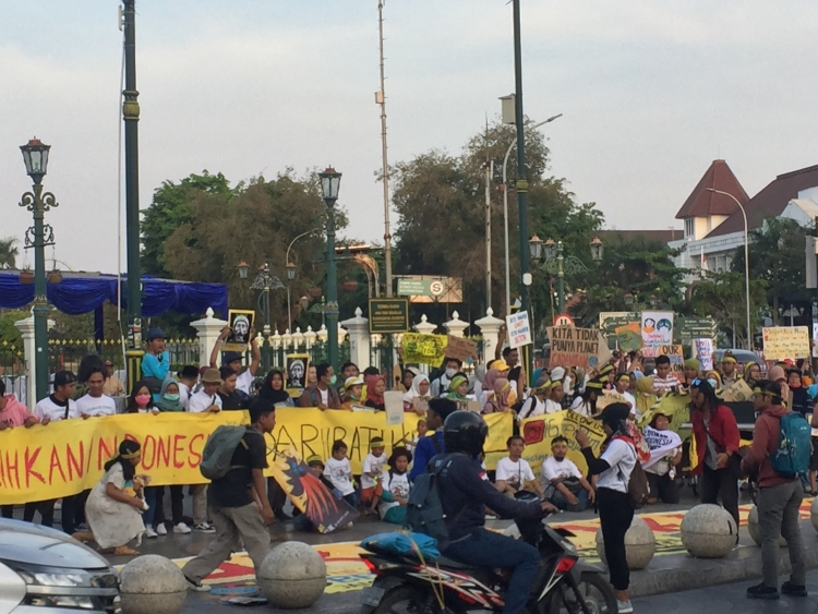 Crowd at Climate Strike in Indonesia