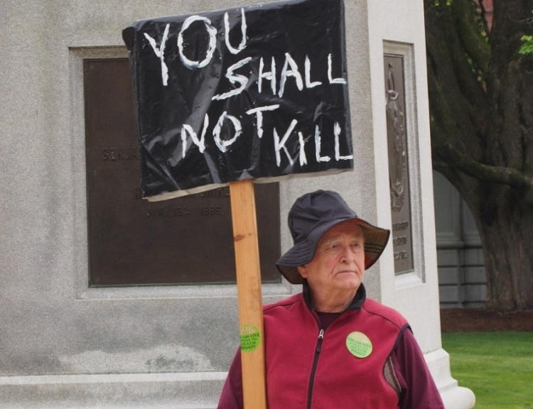 You shall not kill picket sign.