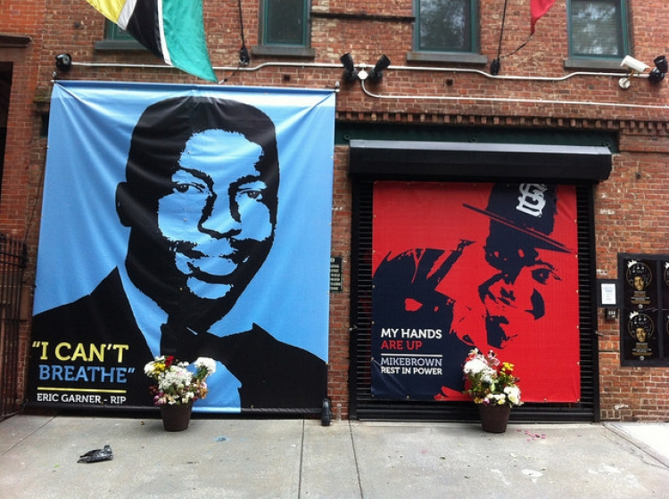 Banners of Eric Garner and Mike Brown