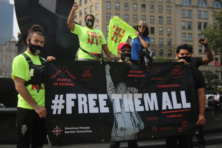 A #FreeThemAll action in New York City.