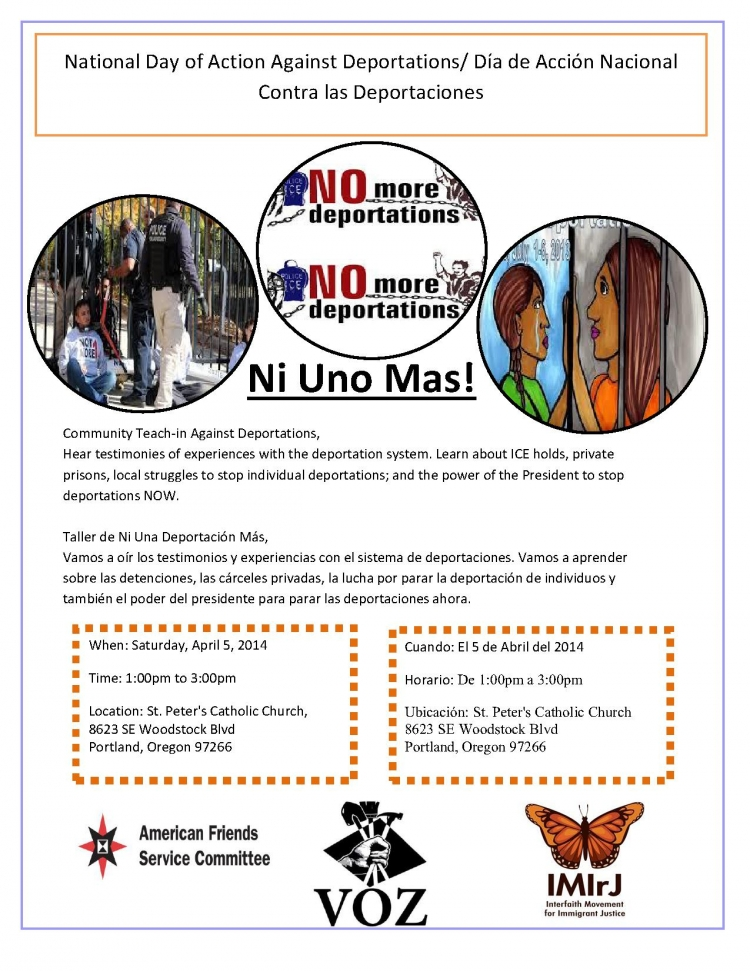 Flyer for April 5th #not1more day of action