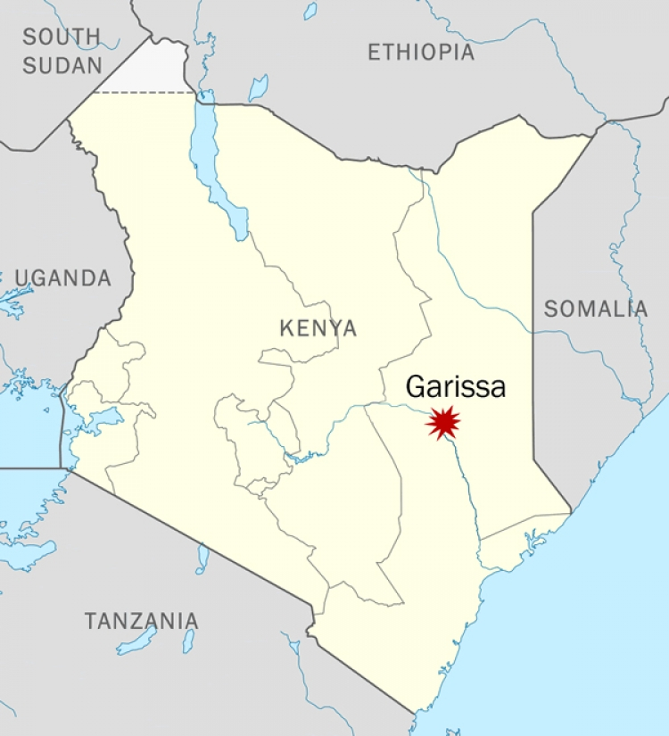 Map of Kenya with Garissa highlighted