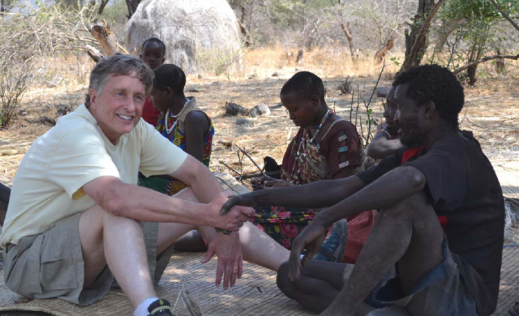 Geral Blanchard, left, visits with friends in Africa.