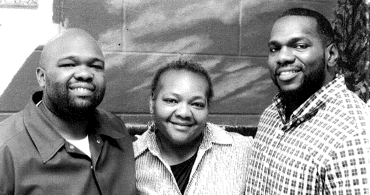 Jawan Hayes at left, his mother Angela, and his brother William