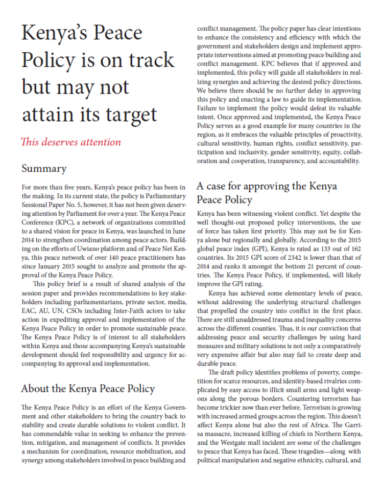 Kenya Peace Policy brief cover