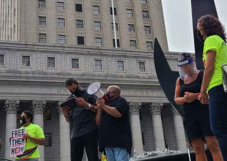 Lewis Webb speaks at a #FreeThemAll action in New York City