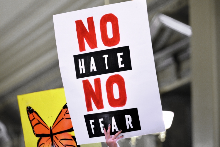 """Sign reading """"No Hate No Fear"""""""