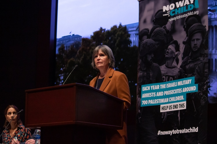 Betty McCollum testifies at a No Way to Treat a Child Congressional briefing