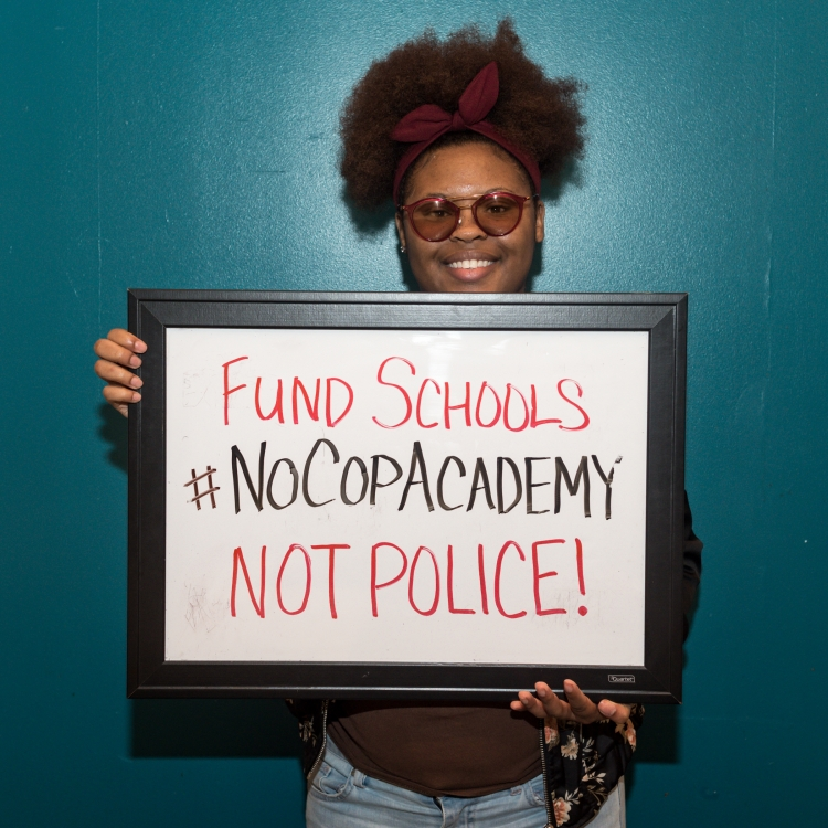 Young people in Chicago have led the #NoCopAcademy campaign, opposing the construction of a new $95 million policy academy and calling for investment in schools and communities. Photo: @loveandstrugglephotos/Sarah-Ji