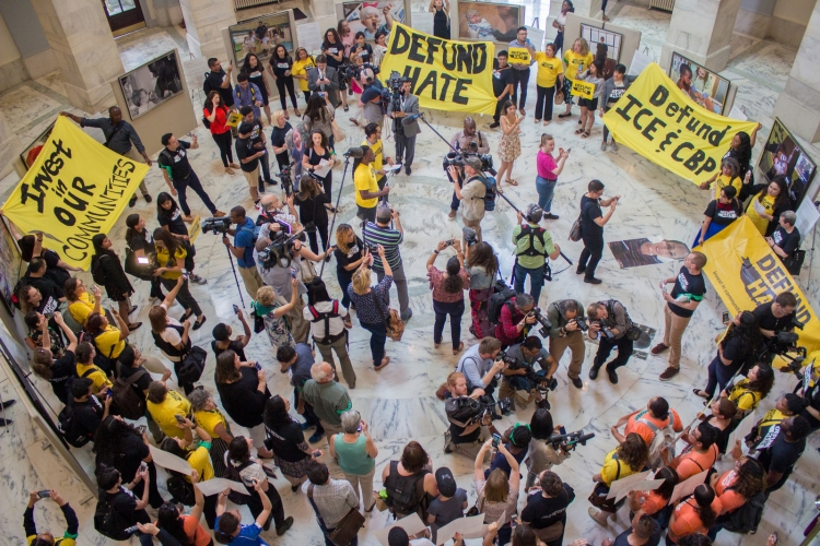 Defund Hate action in the Russell Senate Office building