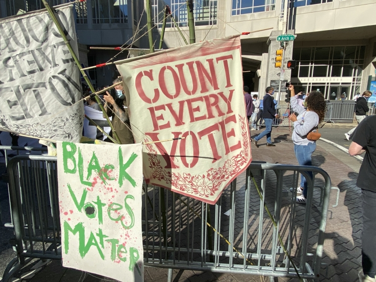 Count every vote and Black votes matter signs