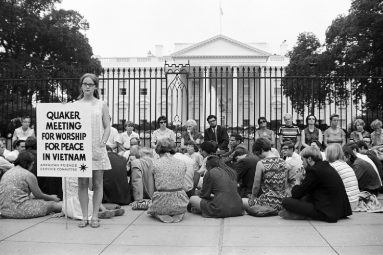 Quakers witness for peace in front of the White House.