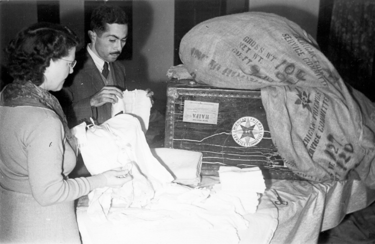 Distributing supplies in Gaza in 1949