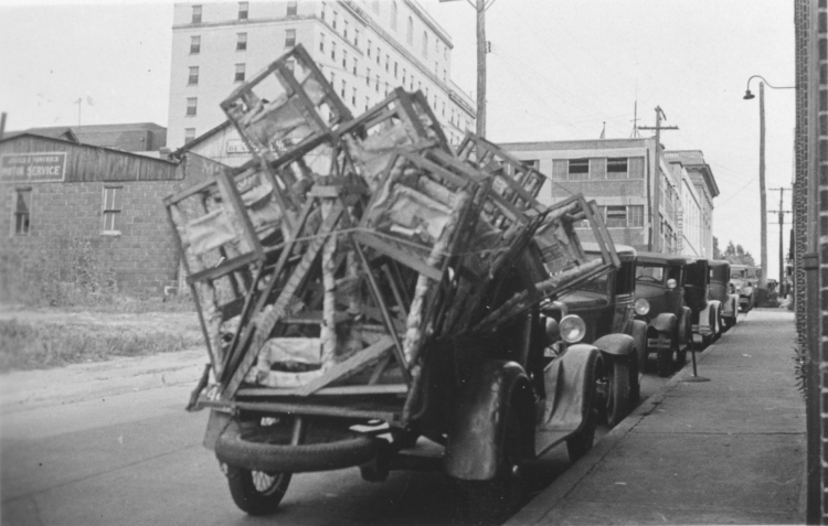 Chairs Crated And Arriving In Morgantown From Crown Shop To Be Shipped By  Express To Purchasers.