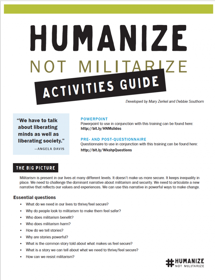 Humanize Not Militarize Activities Guide