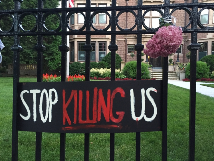 Stop killing us at Governor's mansion in St. Paul, MN