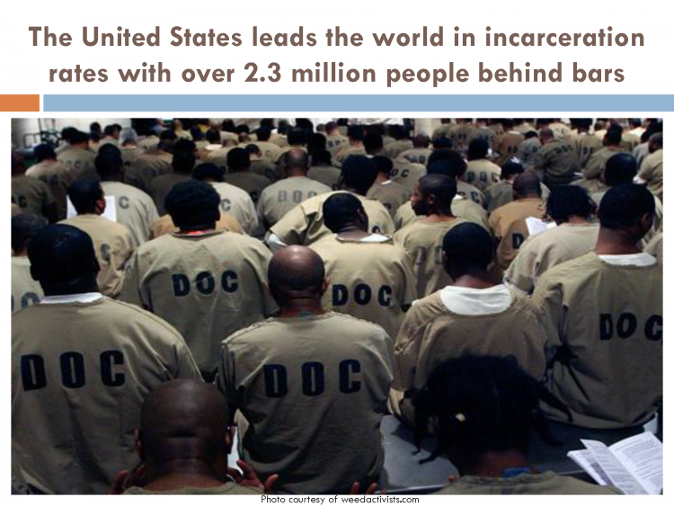 """Group of prisoners from the back, shirts read """"D.O.C."""""""