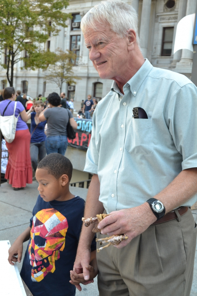 George Lakey with his grandson at Occupy Philly