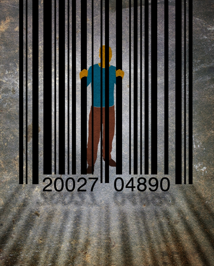 prisoner behind a barcode jail