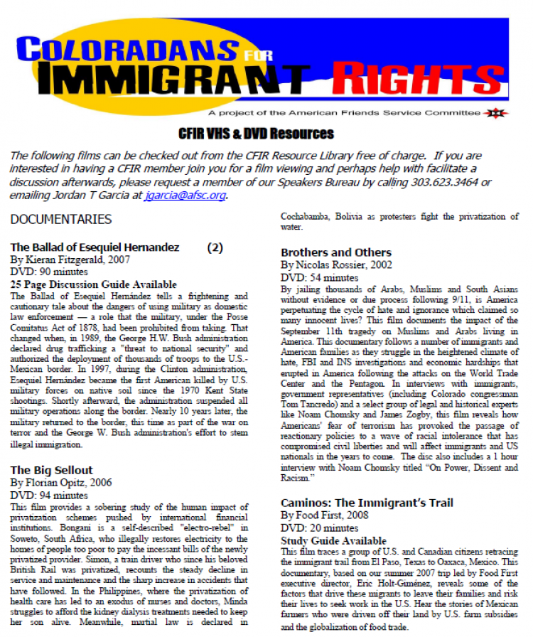 Coloradans for Immigrant Rights flyer