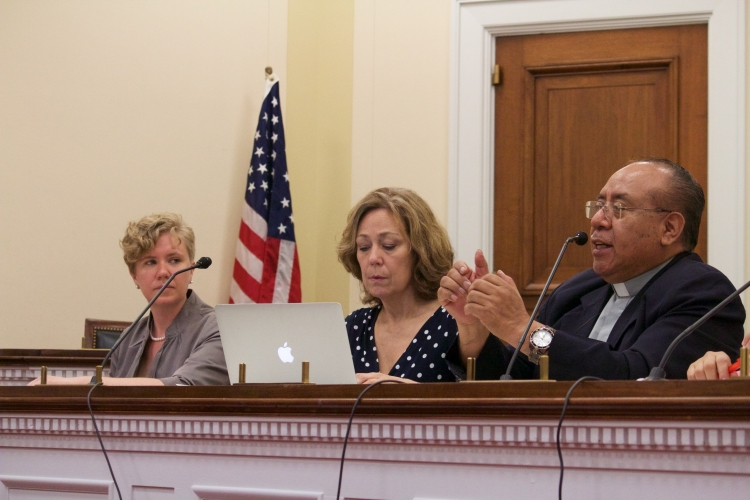 """The author (far left) moderating a panel in Washington, D.C. on how the failed U.S.-led """"war on drugs"""" has devastated the Latin American region. Photo: Carl Roose/AFSC"""