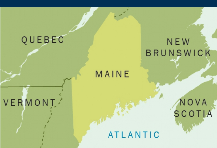 Map showing Maine's location in the northeastern United States of America